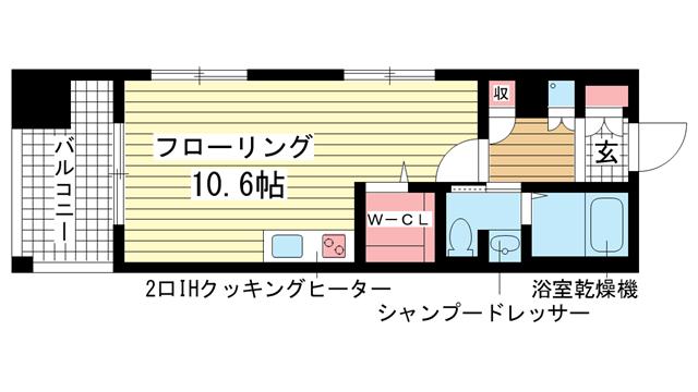 物件番号: 1025810611 サムティ三宮レガニール  神戸市中央区雲井通3丁目 1R マンション 間取り図