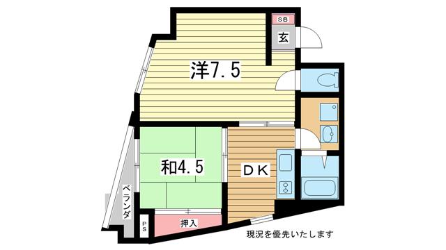 物件番号: 1025810662 ロゼブル中山手  神戸市中央区中山手通2丁目 2DK マンション 間取り図