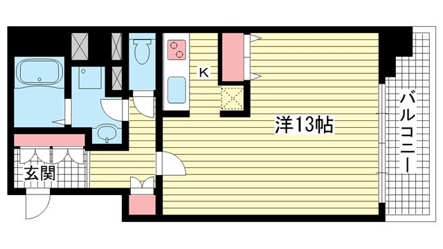 物件番号: 1025810675 DOMみなと元町  神戸市中央区元町通4丁目 1K マンション 間取り図
