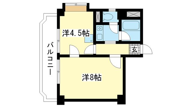 物件番号: 1025810736 ロイヤル花隈  神戸市中央区北長狭通6丁目 2K マンション 間取り図