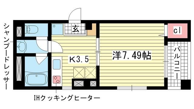 物件番号: 1025810837 サントル花隈  神戸市中央区花隈町 1K マンション 間取り図