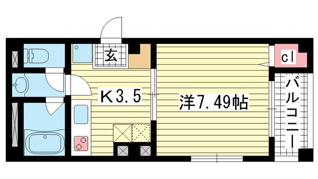 物件番号: 1025810839 サントル花隈  神戸市中央区花隈町 1K マンション 間取り図