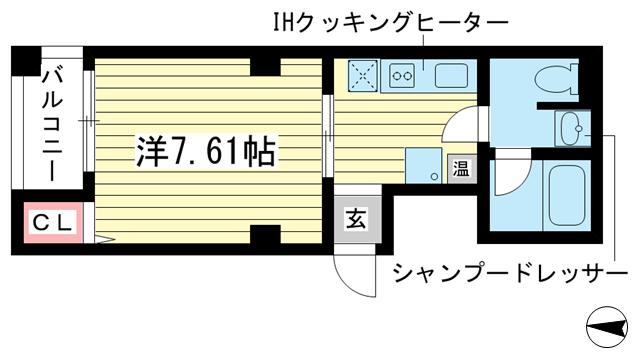 物件番号: 1025810845 サントル花隈  神戸市中央区花隈町 1K マンション 間取り図