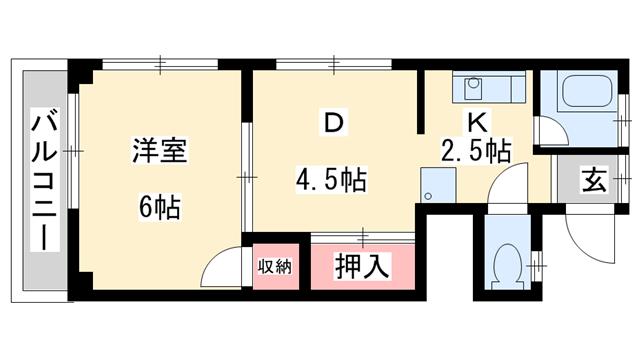 物件番号: 1025810944 三宮アソシア  神戸市中央区南本町通4丁目 1DK マンション 間取り図