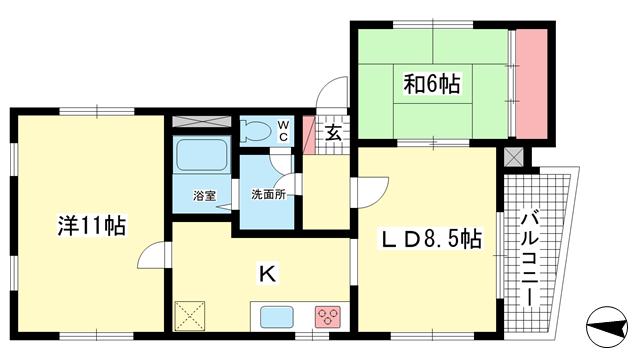 物件番号: 1025810980 ガーデン御影  神戸市東灘区御影中町2丁目 2LDK マンション 間取り図