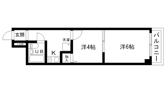 物件番号: 1025811144 ライオンズマンション新神戸  神戸市中央区熊内町4丁目 2K マンション 間取り図