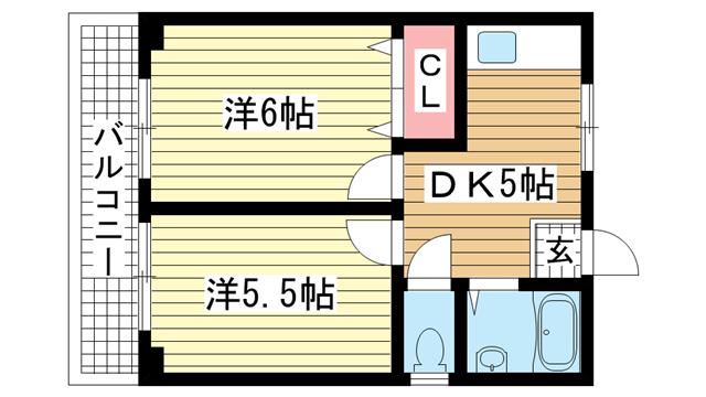物件番号: 1025811201 シティハイツ二宮  神戸市中央区二宮町2丁目 2DK マンション 間取り図