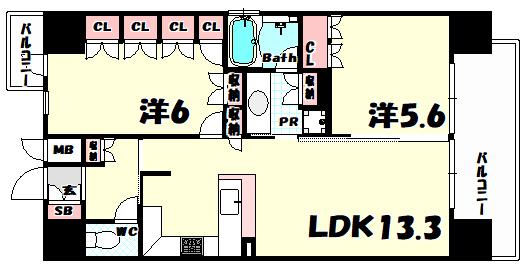 物件番号: 1025811253 リーガル神戸三宮  神戸市中央区磯辺通3丁目 2LDK マンション 間取り図