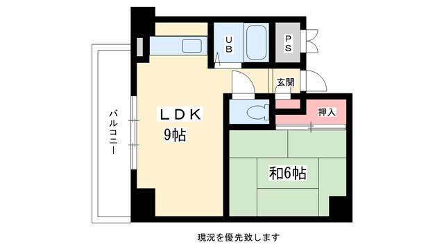物件番号: 1025811322 シティライフ六甲道  神戸市灘区友田町3丁目 1LDK マンション 間取り図