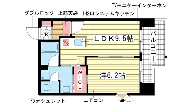 物件番号: 1025811352 インベスト神戸エアフロント  神戸市中央区北本町通4丁目 1LDK マンション 間取り図