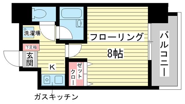 物件番号: 1025811498 ラナップスクエア三宮プライム  神戸市中央区雲井通3丁目 1K マンション 間取り図