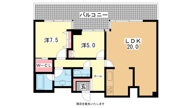 物件番号: 1025811619 イーストコート2番街  神戸市東灘区向洋町中1丁目 2LDK マンション 間取り図