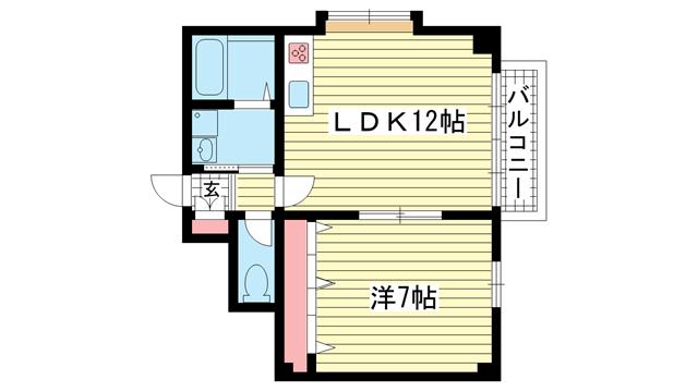 物件番号: 1025811655 サンビルダー神戸山ノ手  神戸市中央区坂口通7丁目 1LDK マンション 間取り図