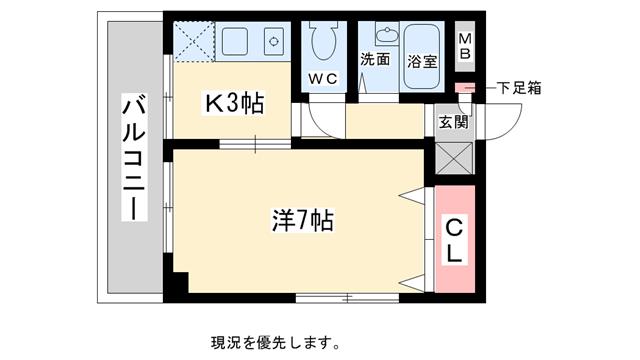 物件番号: 1025811688 ドゥ・フェイト須磨  神戸市須磨区飛松町4丁目 1K マンション 間取り図