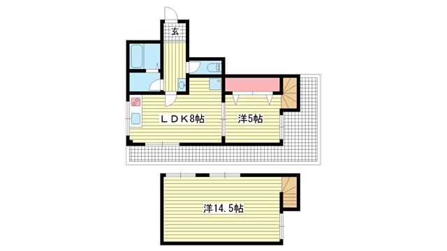 物件番号: 1025811869 サンビルダー神戸山ノ手  神戸市中央区坂口通7丁目 1SLDK マンション 間取り図