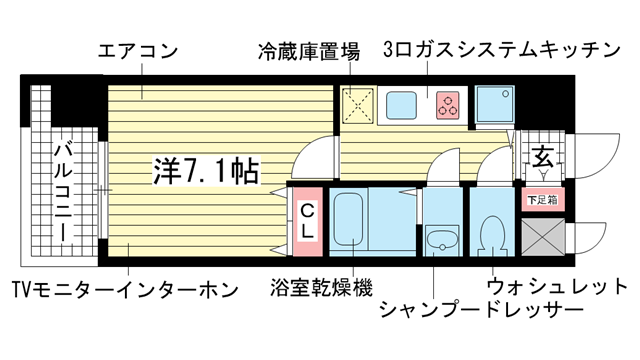 物件番号: 1025812106 KDXレジデンス三宮  神戸市中央区二宮町4丁目 1K マンション 間取り図