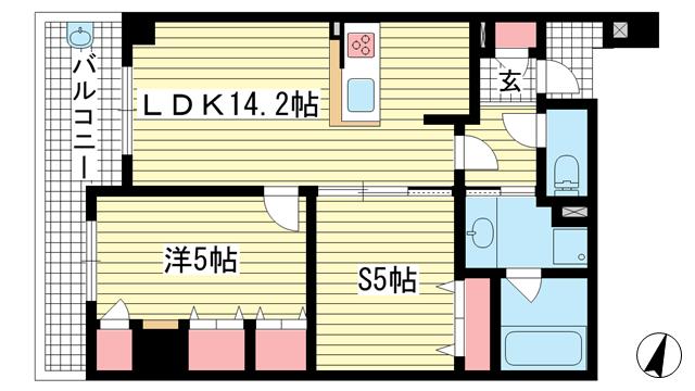 物件番号: 1025812881 アパタワーズ神戸三宮  神戸市中央区磯辺通4丁目 1SLDK マンション 間取り図