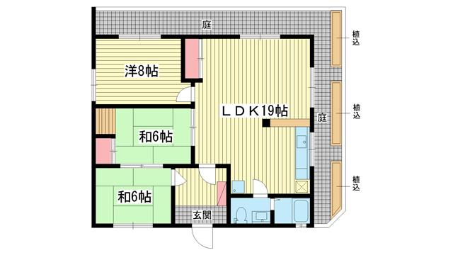 物件番号: 1025812958 エクセル神戸  神戸市中央区熊内町8丁目 3LDK マンション 間取り図