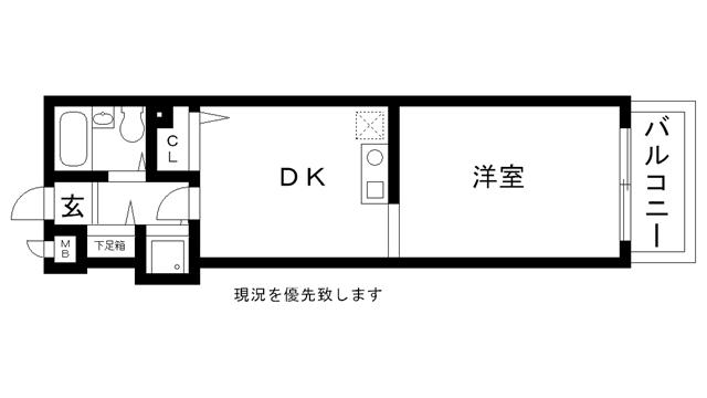 物件番号: 1025812971 ロマネスク春日野道  神戸市中央区神若通5丁目 1DK マンション 間取り図