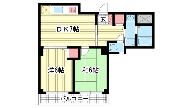 物件番号: 1025812992 グランシャリオ山手田邉  神戸市中央区下山手通6丁目 2DK マンション 間取り図