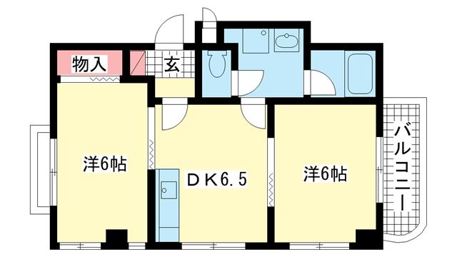 物件番号: 1025813026 サンシャイン山手  神戸市中央区中山手通2丁目 2DK マンション 間取り図