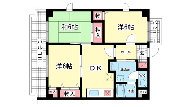 物件番号: 1025813154 ライオンズマンション神戸西橘通  神戸市兵庫区西橘通1丁目 3DK マンション 間取り図
