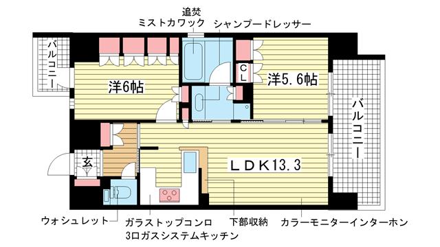 物件番号: 1025813168 リーガル神戸三宮  神戸市中央区磯辺通3丁目 2LDK マンション 間取り図