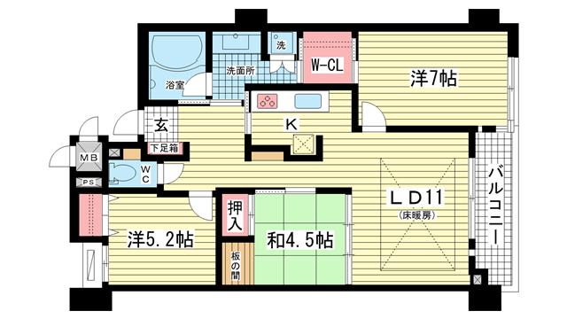物件番号: 1025813270 インペリアル新神戸  神戸市中央区加納町2丁目 3LDK マンション 間取り図