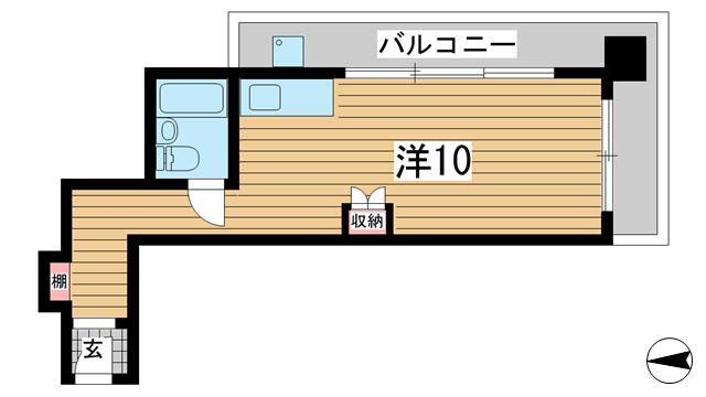 物件番号: 1025813324 ロイヤルマロンハイツ  神戸市中央区山本通3丁目 1R マンション 間取り図