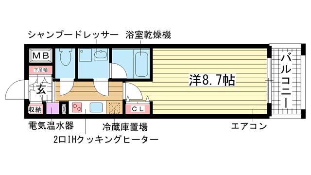 物件番号: 1025813395 BELLEZZA  神戸市中央区雲井通4丁目 1K マンション 間取り図