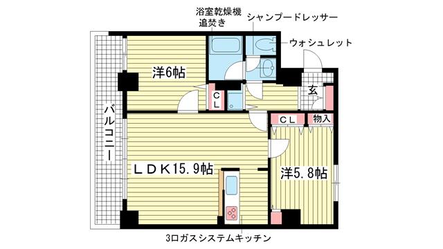 物件番号: 1025813429 プレサンス神戸三宮  神戸市中央区雲井通4丁目 1SLDK マンション 間取り図