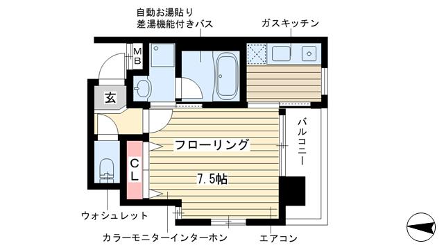 物件番号: 1025813498 WOB SHINKOBE  神戸市中央区熊内町4丁目 1K マンション 間取り図
