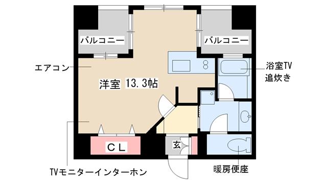 物件番号: 1025813518 プレジール三宮  神戸市中央区加納町2丁目 1R マンション 間取り図