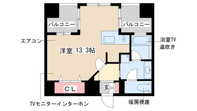 物件番号: 1025813519 プレジール三宮  神戸市中央区加納町2丁目 1R マンション 間取り図