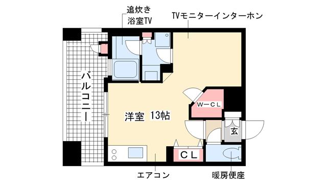 物件番号: 1025813535 プレジール三宮  神戸市中央区加納町2丁目 1R マンション 間取り図