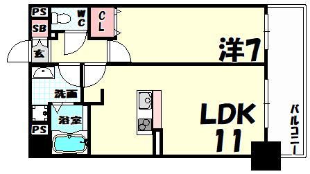物件番号: 1025813548 インボイス新神戸レジデンス  神戸市中央区生田町3丁目 1LDK マンション 間取り図