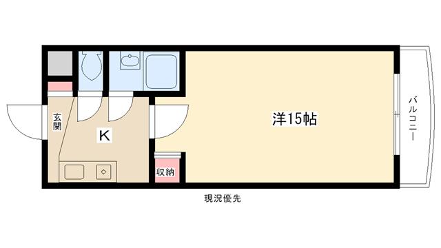 物件番号: 1025813931 テレサエンバシ  神戸市灘区森後町2丁目 1K マンション 間取り図