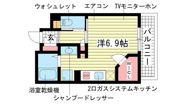 物件番号: 1025814107 ERコート王子公園  神戸市中央区割塚通2丁目 1R マンション 間取り図