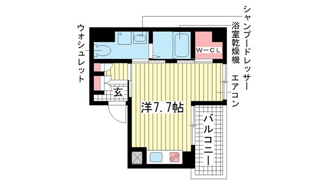 物件番号: 1025814112 ERコート王子公園  神戸市中央区割塚通2丁目 1R マンション 間取り図