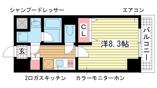 物件番号: 1025814140 クレイントトヤミチ  神戸市東灘区深江北町3丁目 1K マンション 間取り図