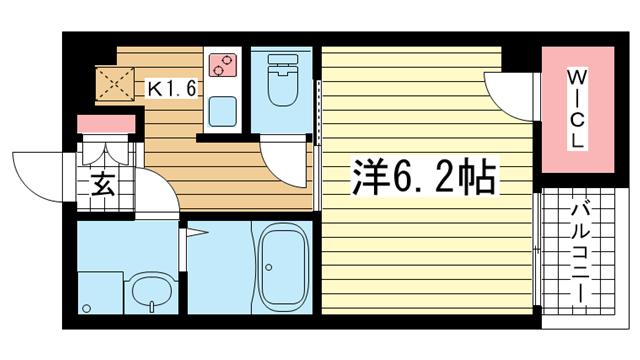 物件番号: 1025814197 ウォームスヴィル神戸元町JP  神戸市中央区花隈町 1K マンション 間取り図