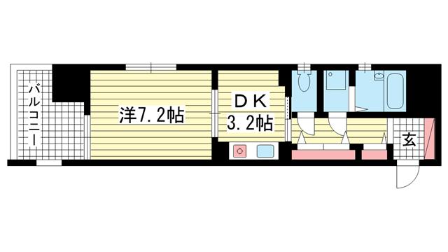 物件番号: 1025814243 プレサンス新神戸  神戸市中央区布引町2丁目 1DK マンション 間取り図