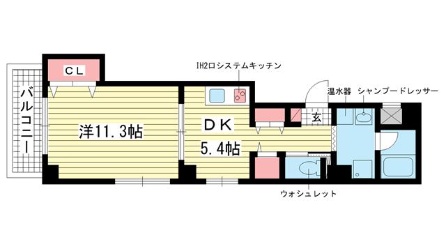 物件番号: 1025814274 フラワーハイツひまわり  神戸市中央区琴ノ緒町4丁目 1DK マンション 間取り図
