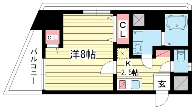 物件番号: 1025814479 コンフォール元町  神戸市中央区北長狭通4丁目 1K マンション 間取り図