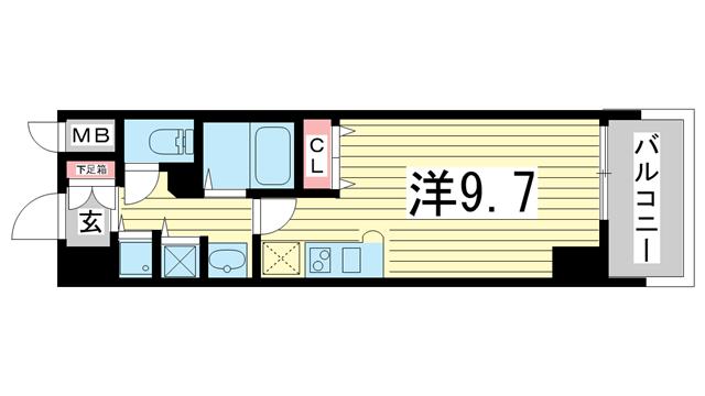 物件番号: 1025814659 カスタリア三宮  神戸市中央区磯辺通3丁目 1R マンション 間取り図