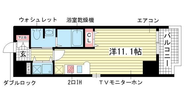 物件番号: 1025814663 カスタリア三宮  神戸市中央区磯辺通3丁目 1R マンション 間取り図