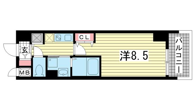 物件番号: 1025814701 カスタリア三宮  神戸市中央区磯辺通3丁目 1K マンション 間取り図