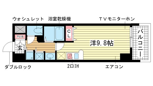 物件番号: 1025814711 カスタリア三宮  神戸市中央区磯辺通3丁目 1R マンション 間取り図