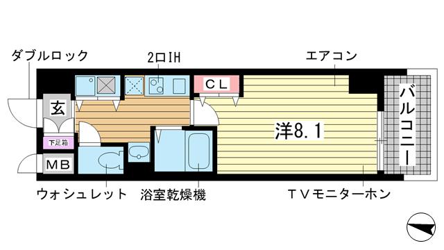 物件番号: 1025814728 カスタリア三宮  神戸市中央区磯辺通3丁目 1K マンション 間取り図