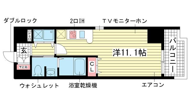 物件番号: 1025814794 カスタリア三宮  神戸市中央区磯辺通3丁目 1R マンション 間取り図